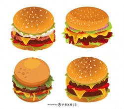 Burger illustration set