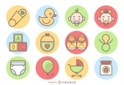 Cute baby icons collection
