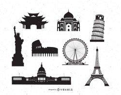 Famous World Monument Pack Silhouette
