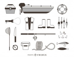 Fishing elements icons outline