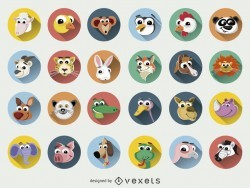 Funny Animal cartoons faces icon set