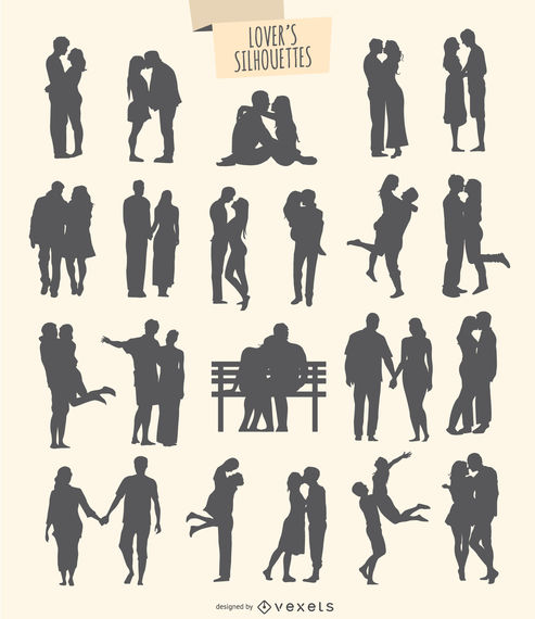 Kit of 21 silhouettes of lovers