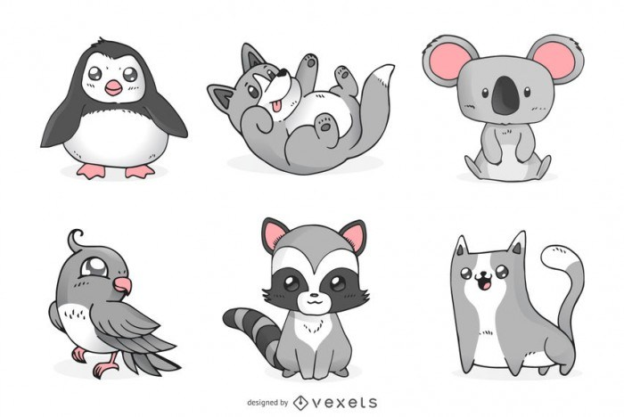Monochromatic cute animals set