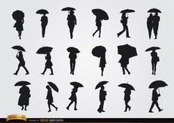 People walking with umbrella silhouettes set