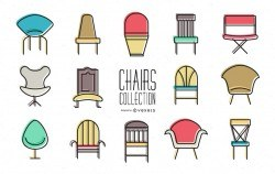 Set of colorful chair icons