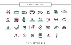 Stroke travel icons set
