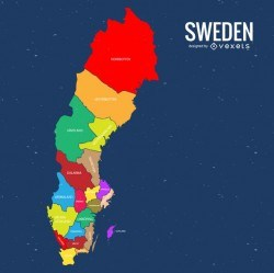 Sweden colored county map