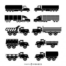 Truck silhouette set