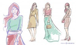 Women model fashion drawing set