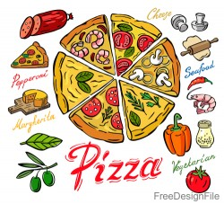 Pizza ingredients hand drawn vector