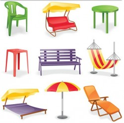 Different Summer Furniture Vector