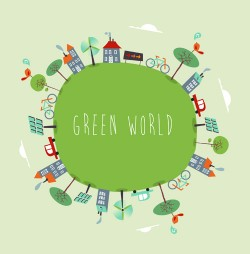 Cartoon green world 3 vector