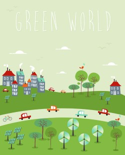 Cartoon green world 7 vector