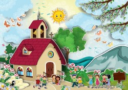 Cartoon house with natural scenery vector 02