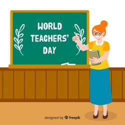 Hand drawn world teachers day with woman