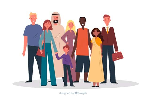 Multiracial group of people flat design