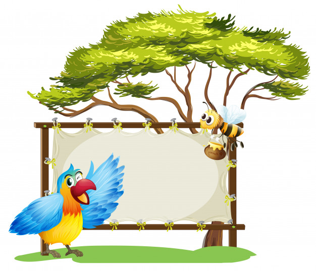 A notice board, a bird and a honey bee