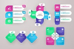 Gradient business infographic elements