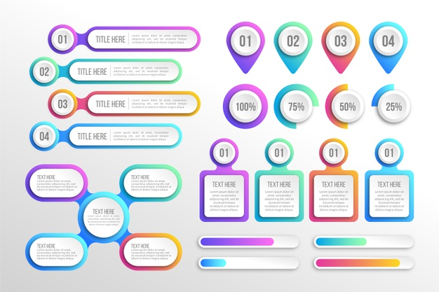 Modern colorful gradient infographic elements