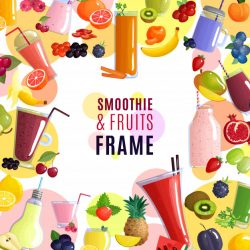 Smoothie and fruits frame