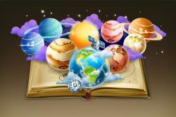 Open geography book and earth vector