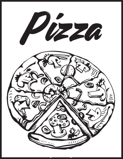 Black and white sketch pizza vector