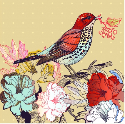 floral backgrounds with birds vector