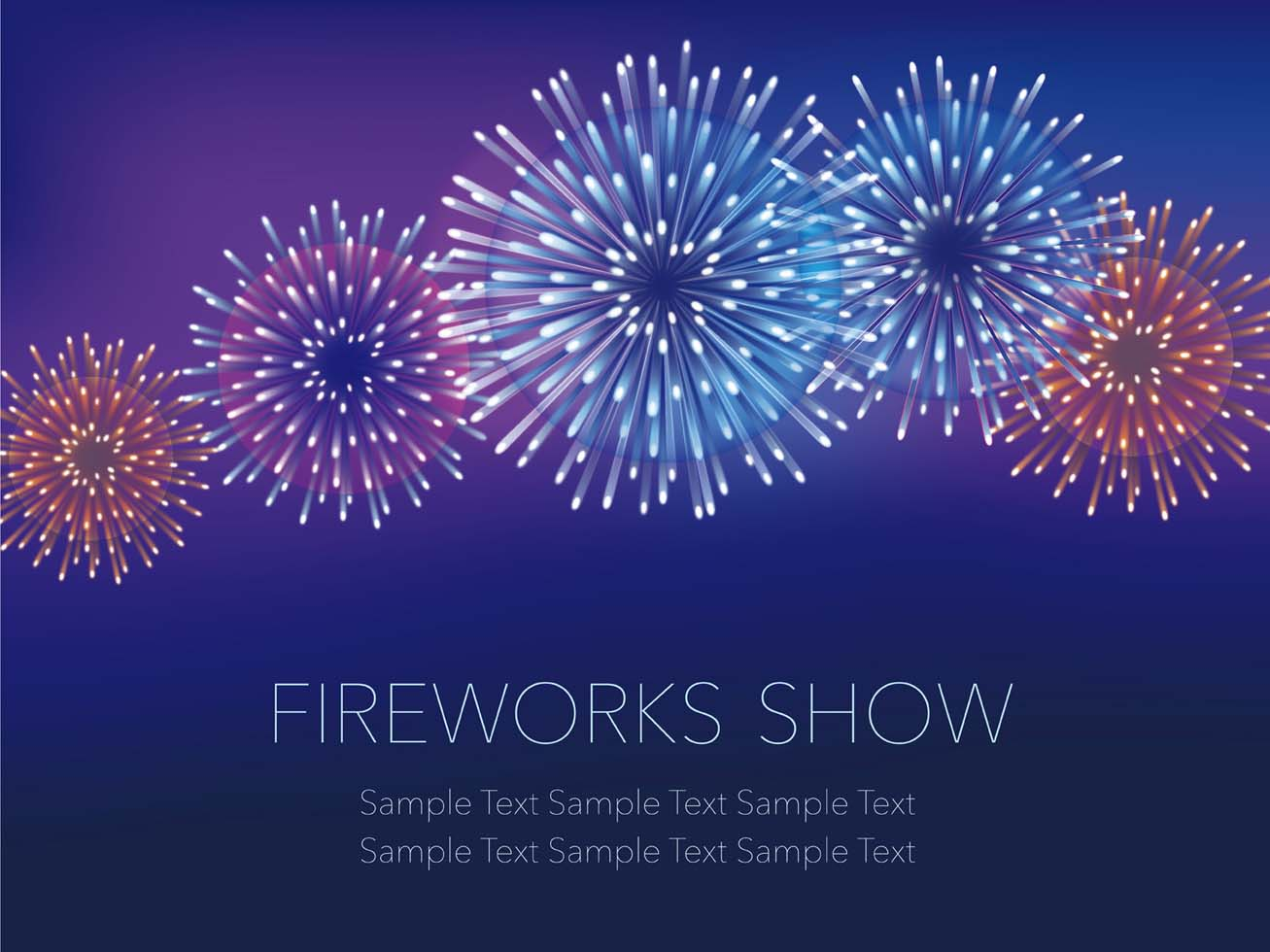 A fireworks background with text space