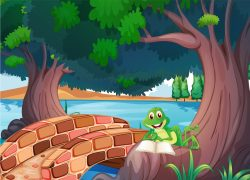 A frog reading under the tree beside a bridge