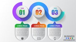 Business infographics 3 step modern creative step by step