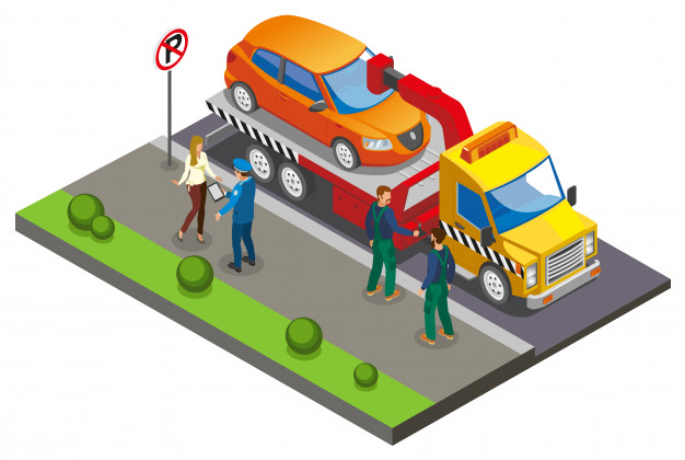 Colored isometric parking composition
