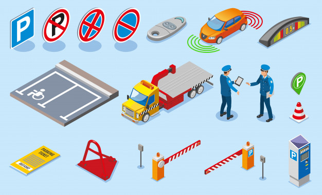 Isometric colored parking icon set