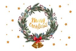Merry christmas quote in a pine leaves wreath