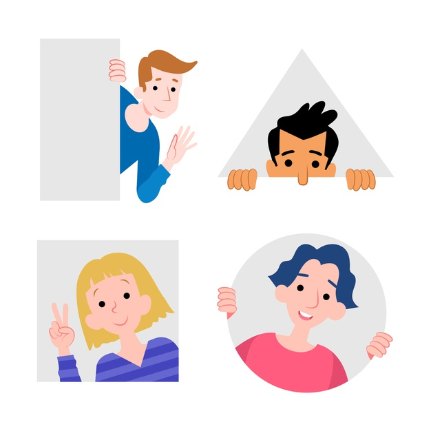 Peeping people collection geometric style   Free Vector