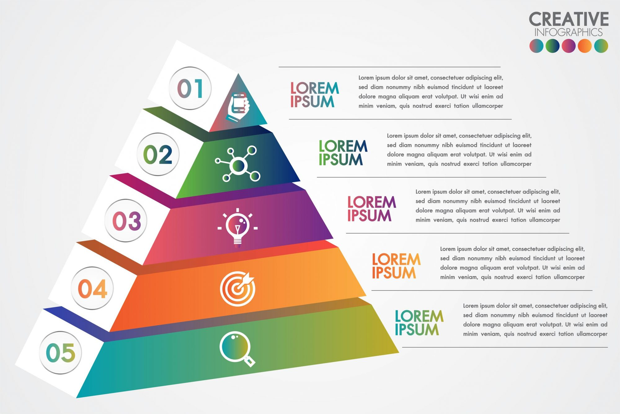 Pyramid infographic colorful template with 5 steps or options