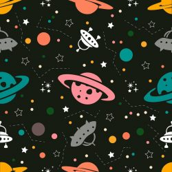Seamless colourful space pattern background