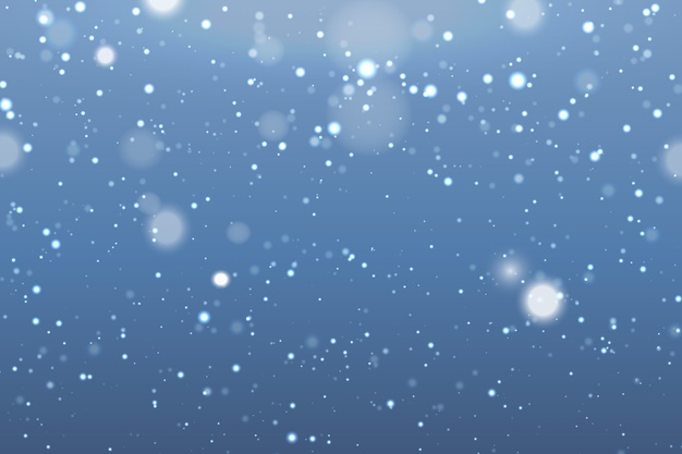 Snowfall realistic background with blurred snowflakes