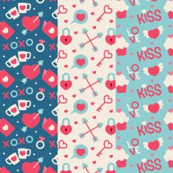 Valentine's day pattern collection in flat design