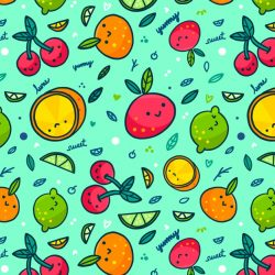 Various fruits with faces seamless pattern