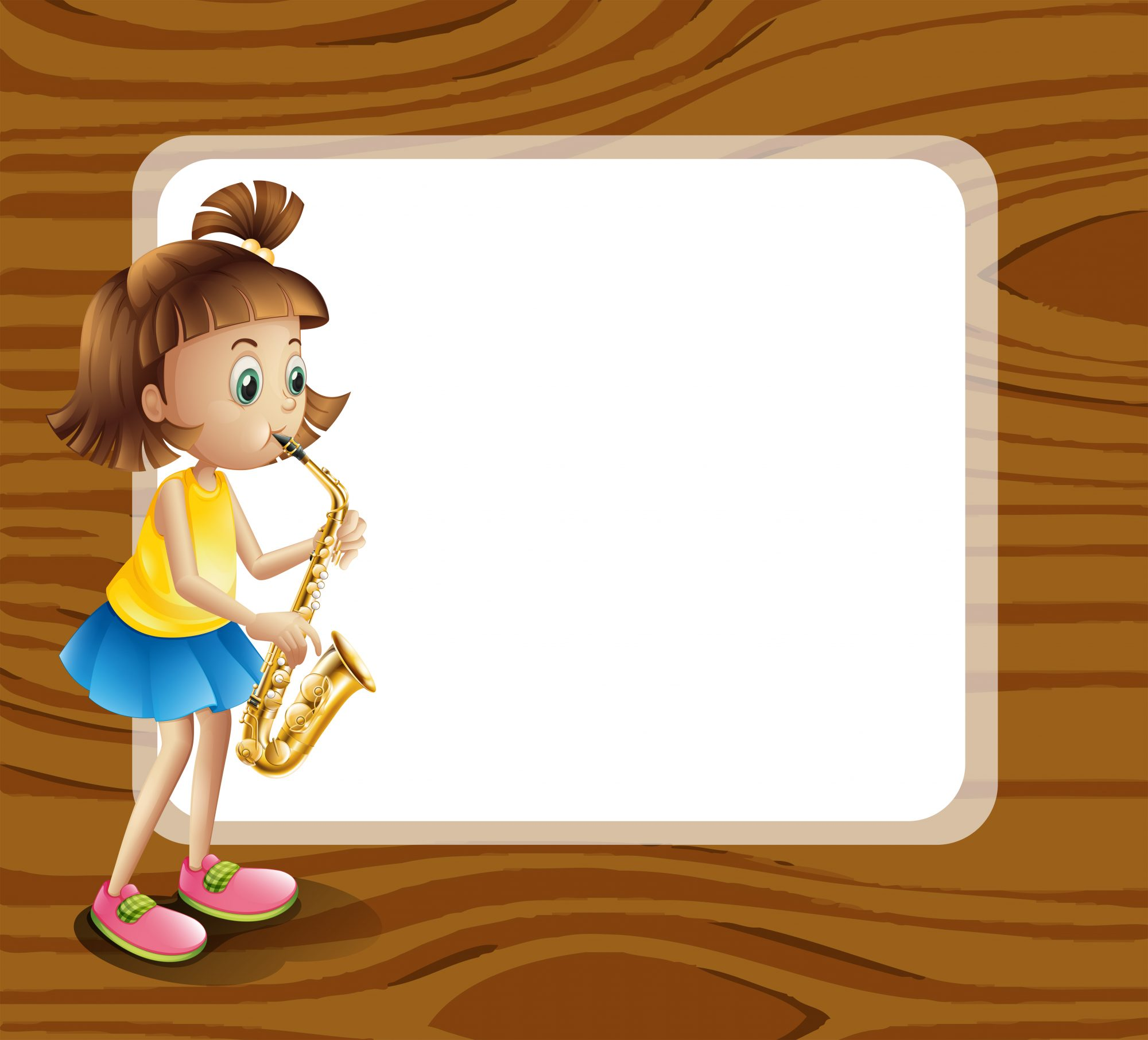 An empty rounded template with a female musician