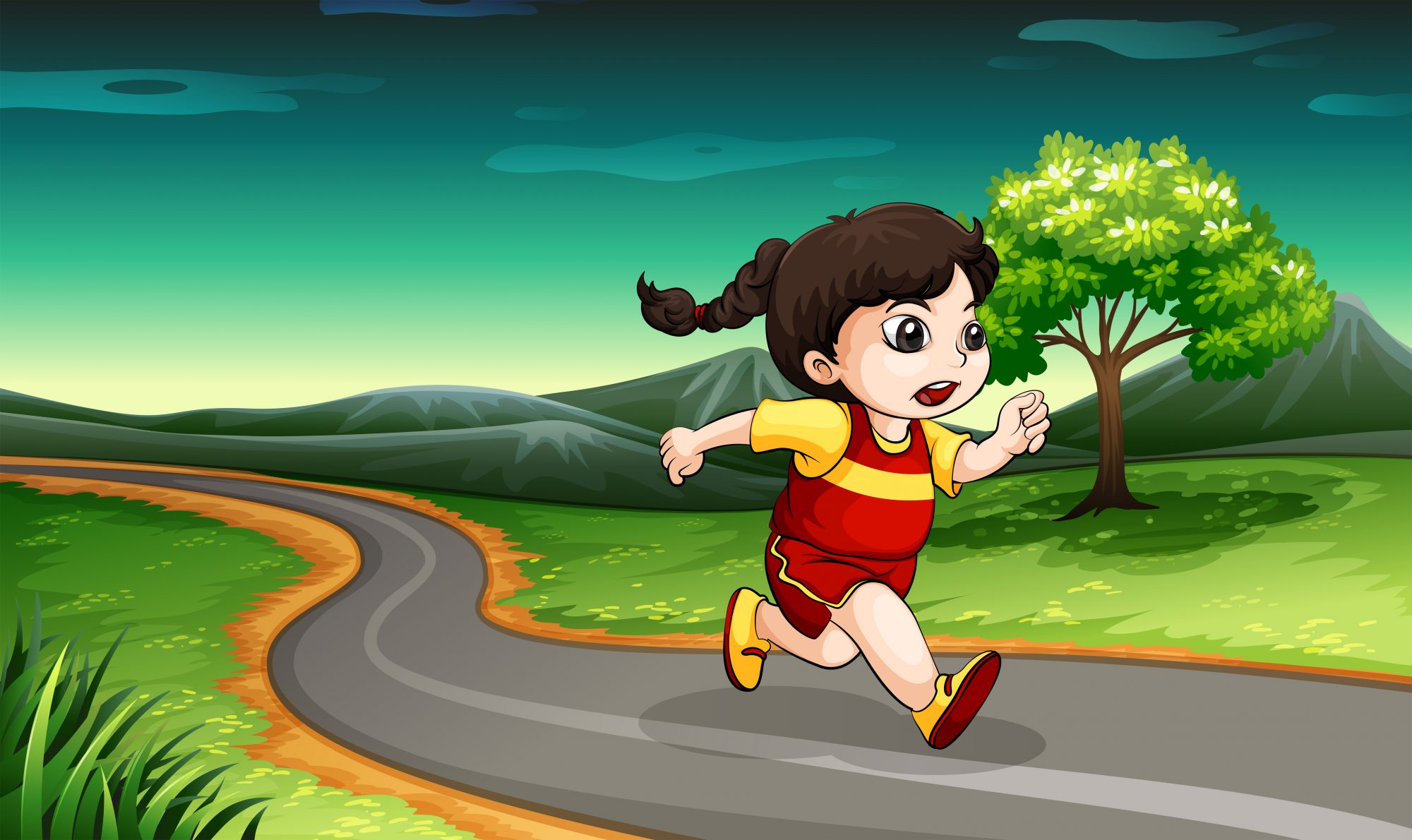 A young girl running