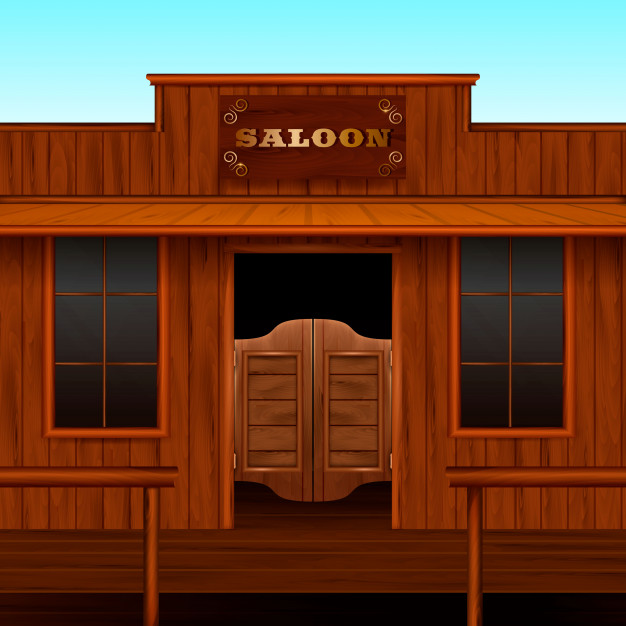 Western saloon entrance composition