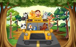 Animals and bus