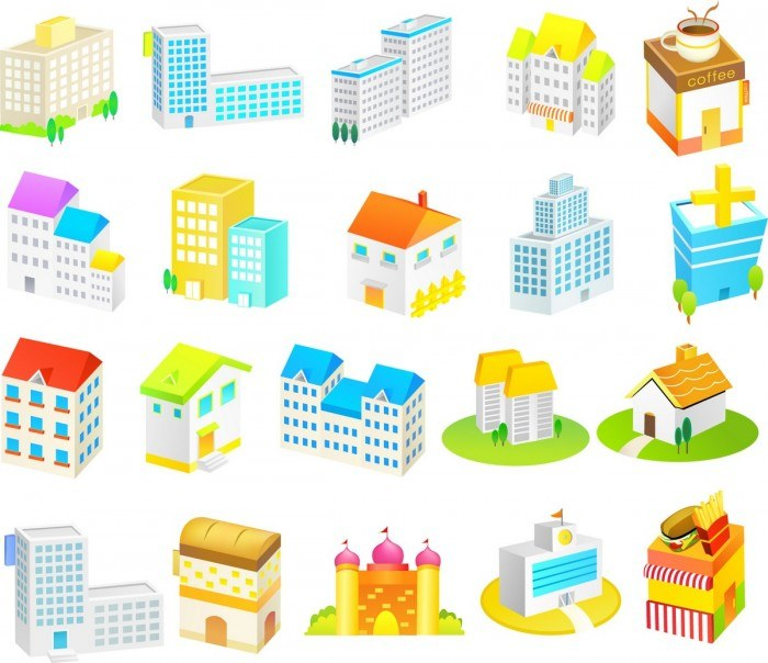 Cartoon Construction Icons 01 Vector