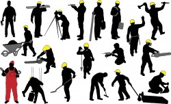 Construction worker silhouettes Vector