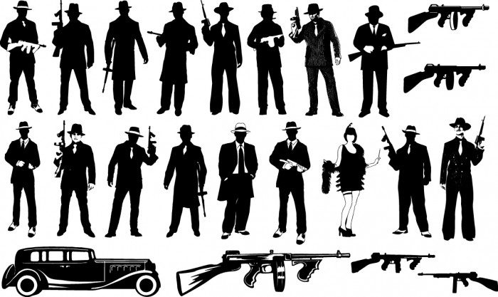 Gangster silhouettes Vector