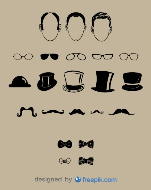 Gentlemen Face and Fashion Design Set  Vector | Free Download