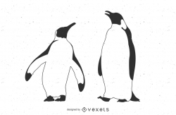 Line Traced Black & White Penguins