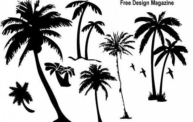 Palm trees silhouettes  Vector | Free Download
