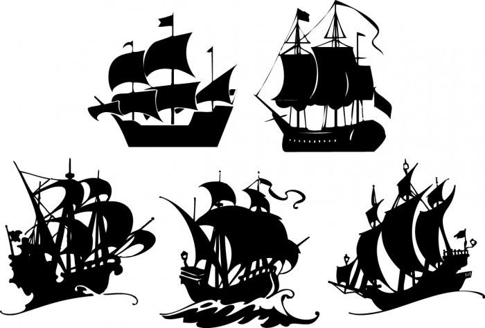 Sailing silhouettes Vector